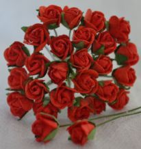 8mm RED SEMI-OPEN ROSE BUDS Mulberry Paper Flowers